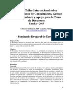 Doctoral Seminar Eureka2013 Espanol