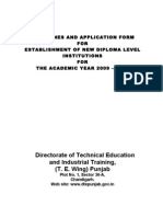 Application for Establishment of New Technical Institutions for the Year 2009-10