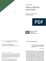 Emilio M Cioran - Adios a La Filosofia y Otros Textos