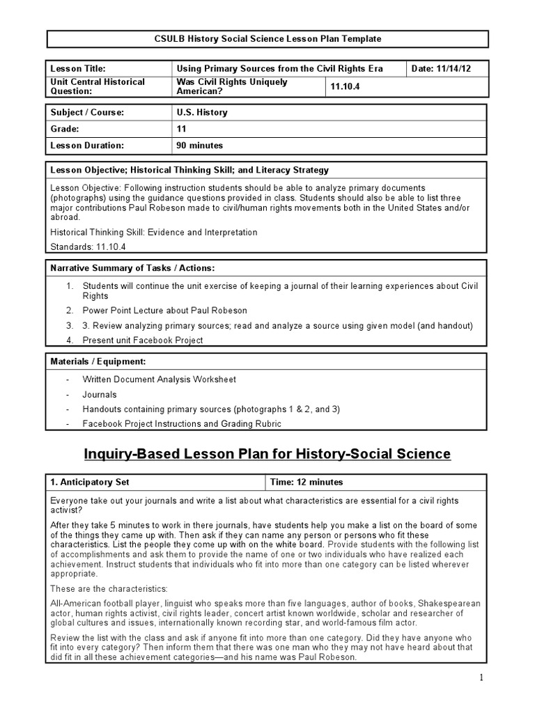 Amazing Science Lesson Plan Template Gallery Entry Level Resume - History lesson plan template