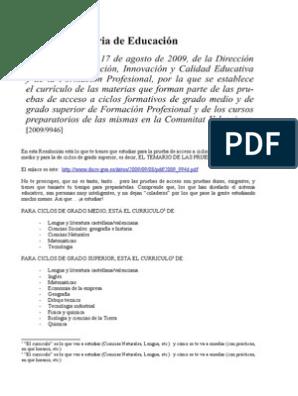 Temario Pruebas De Acceso Ciclos Formativos Grado Medio Y