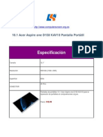 Acer Aspire One D150 KAV10 Pantalla