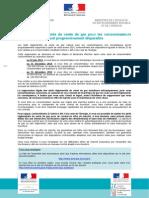 Courrier officiel d'information sur la fin des tarifs réglementés (TRV) du gaz