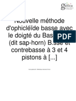 Nouvelle méthode d'ophicléïde basse avec le doigté du Bass-horn (dit sap-horn) B.sse et contrebasse à 3 et 4 pistons à boîte cylindrique, en 2 parties