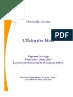 L'Écho des Mots - Rapport de Stage (Sept. 2007)