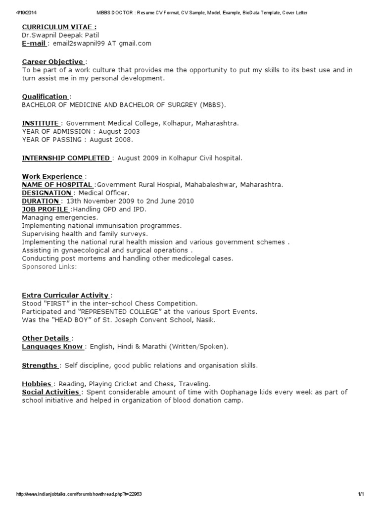 mbbs doctor resume cv format cv sample model example biodata mbbs doctor resume cv format cv - Resume Format For Doctor