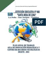 Plan Anual de Trabajo Del Aula de Innovacion 2013