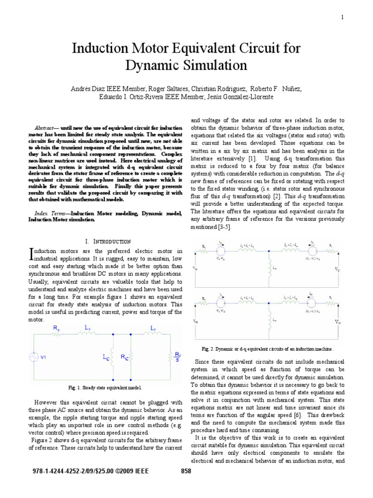 Induction Motor Equivalent Circuit For Dynamic Simulation Rotor Ultilizing Current Variation Starting Electrical Network Electric