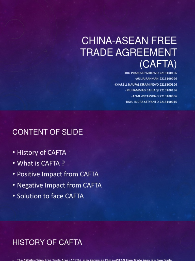 China Asean Free Trade Agreement Cafta Global Business