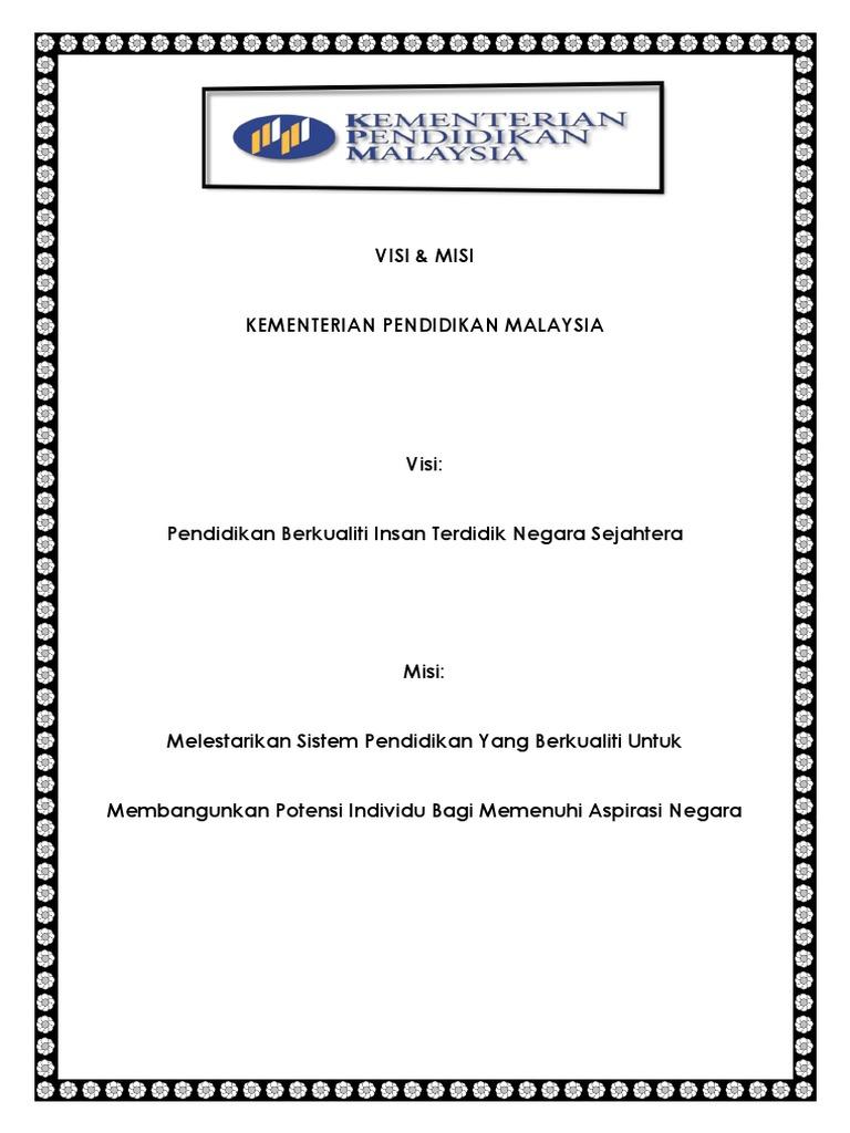 Visi Misi Kementerian Pendidikan Malaysia