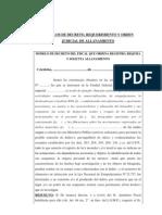Modelos de Decreto Requerimiento y Orden Judicial de Allanamiento