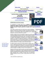 DEFINICIÓN DE POLÍTICA SOCIAL