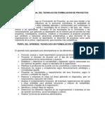 Perfil Ocupacional Del Tecnolgo en Formulacion de Proyectos