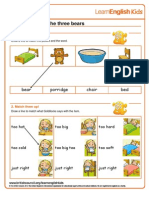 Stories Goldilocks and the Three Bears Worksheet