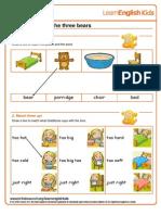 Stories Goldilocks and the Three Bears Worksheet