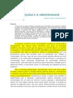 A Pesquisa e a Universidade (Marcus Tadeu Daniel Ribeiro)