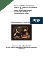 Resolución del Cuestionario sobre Poesía Mística Grupo 4 Sección A