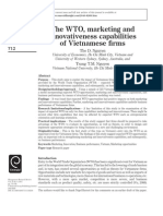 Tho D. Nguyen, Trang T.M. Nguyen, (2011) the WTO, Marketing and Innovativeness Capabilities of Vietnamese Firms