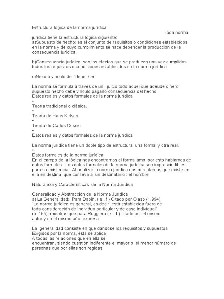 Estructura Lógica De La Norma Jurídica Legislación