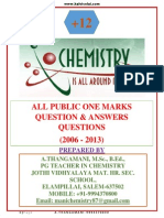 XII Chemistry Public One Marks (2006-2013)