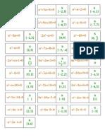 Dominó de Equações 2º Grau 02