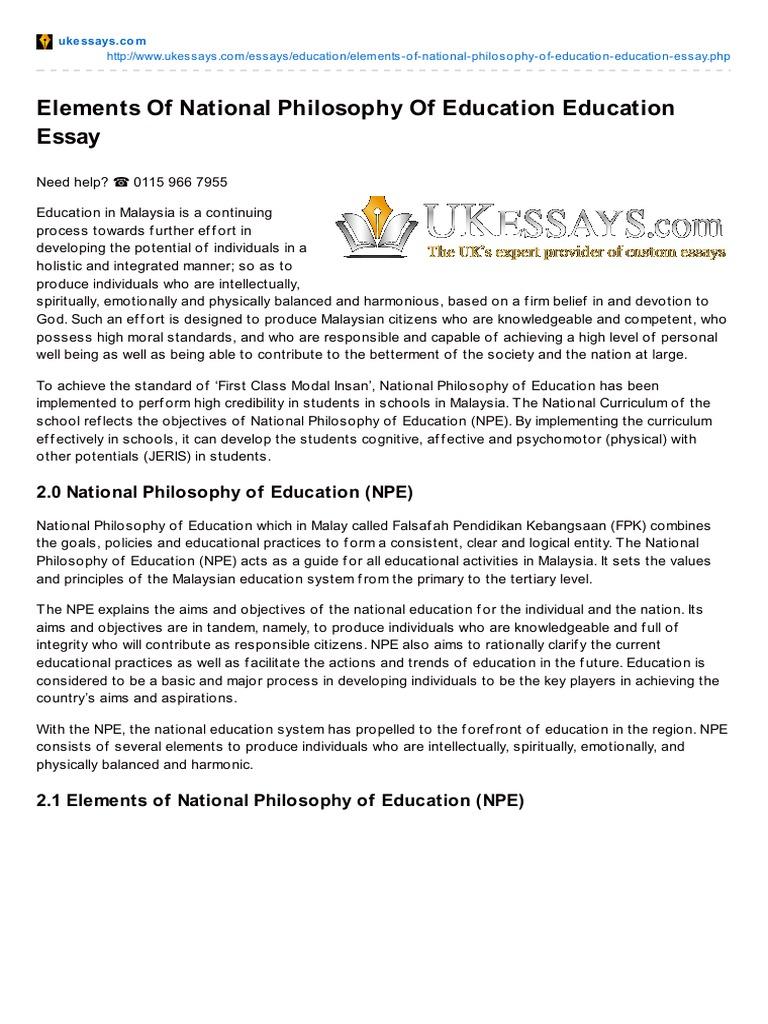 ukessayscom elements of national philosophy of education education  ukessayscom elements of national philosophy of education education essay   philosophy of education  curriculum