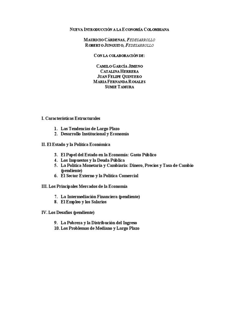 Introduccion A La Economia Colombiana Mauricio Cardenas Ebook