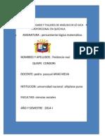 TRABAJO ENCARGADO Y TALLERES DE ANÁLISIS EN LÓ GICA    R                               P                         PROPORCIONAL EN QUECHUA