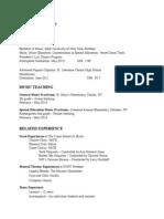 music education resume for website