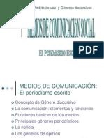 Generos Discursivos Del Periodismo Escrito