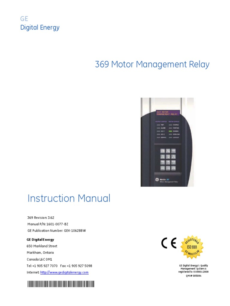 369 Manual | Relay | Electrical Engineering