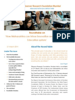 Newsletter - Roundtable on 'How Maharashtra can infuse Innovation and Creativity in its Education System'