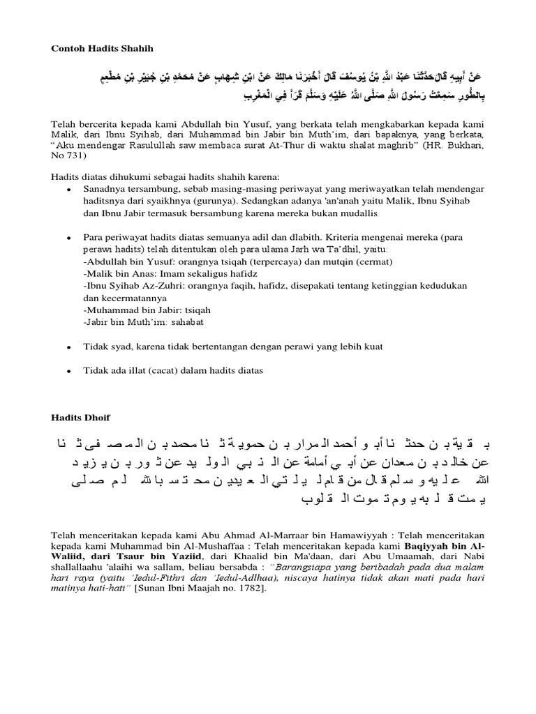 Contoh Hadits Shahih