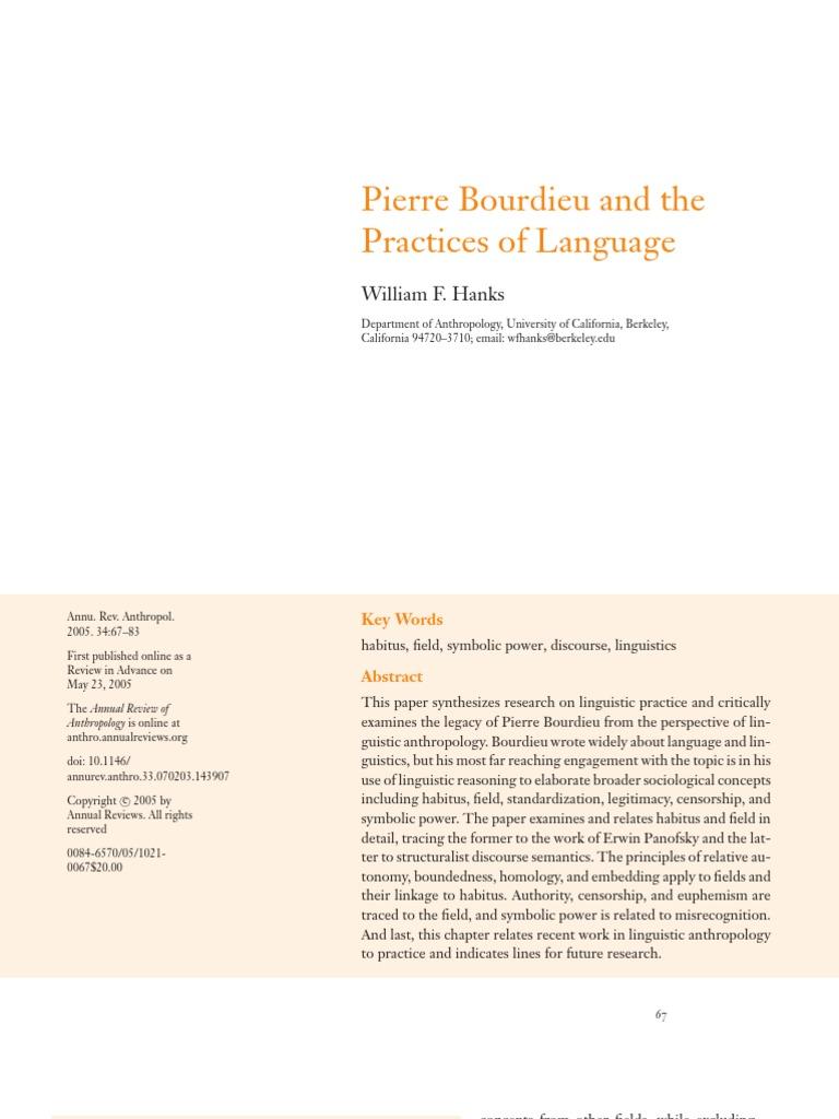 Hanks Pierre Bourdieu And The Practices Of Language Linguistics