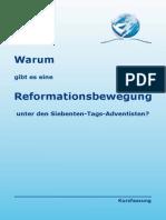 Warum gibt es eine Reformationsbewegung, eine Reformgemeinde unter den Adventisten?