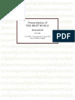 The Next World - Interviewed by Susan Horn - Transcription