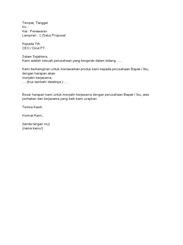 Contoh Surat Penawaran Catering