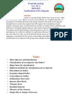 Classification of Ore Deposits_Eco. Lec. No. 6 , 2011