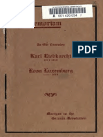 BEDACHT, MAX. in Memoriam. to Our Comrades Karl Liebknecht, 1871-1919 [and] Rosa Luxemburg, 1871-1919, Martyrs to the German Revolution (1919])