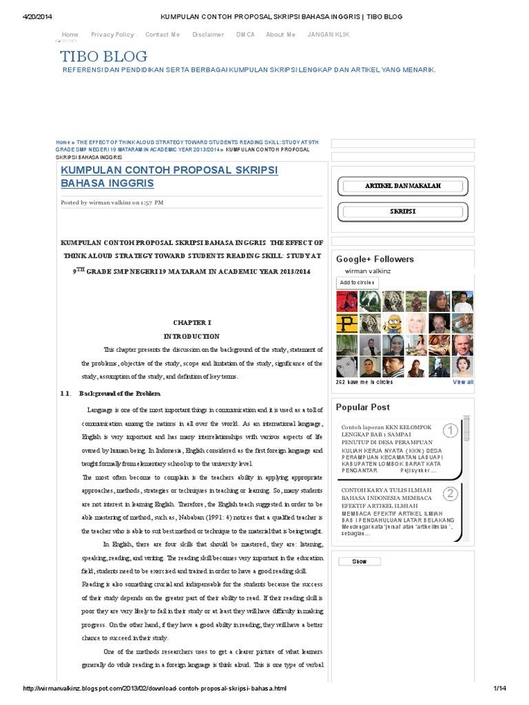 Contoh Background Skripsi Bahasa Inggris Tentang Reading ...