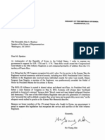 Republic of Korea Letter to Speaker of the House John A. Boehner supporting passage of Borinqueneers Congressional Gold Medal Act.