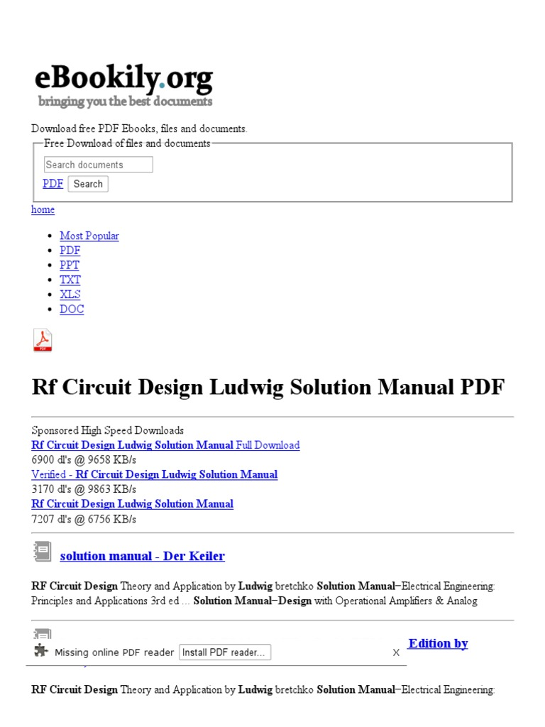 Rf Circuit Design Ludwig Solution Manual - Free PDF Downloads | Radio  Frequency | Portable Document Format