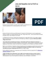 Plan de erradicación del hambre de la FAO se llamará Hugo Chávez