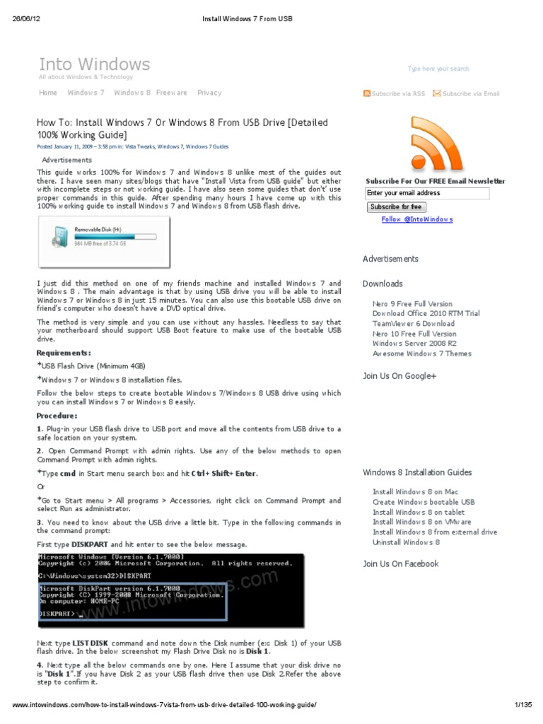 Install Windows 7 From USB | Booting | Usb Flash Drive