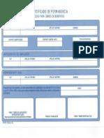 Formulario de Certificado Permanencia