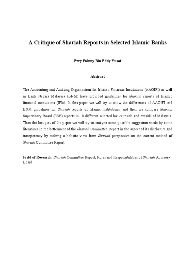 A Critique Of Shariah Reports In Selected Islamic Banks Islamic