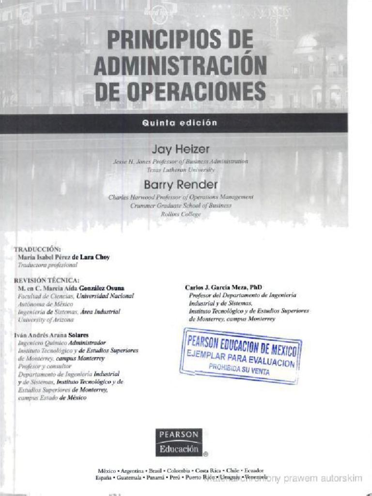 Principios De Administracion De Operaciones Render Heizer Pdf