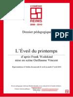 Dossier Pedagogique L Eveil Du Printemps de Frank Wedekind
