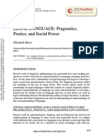 Legal Languaje Pragmatics Poetics and Social Power
