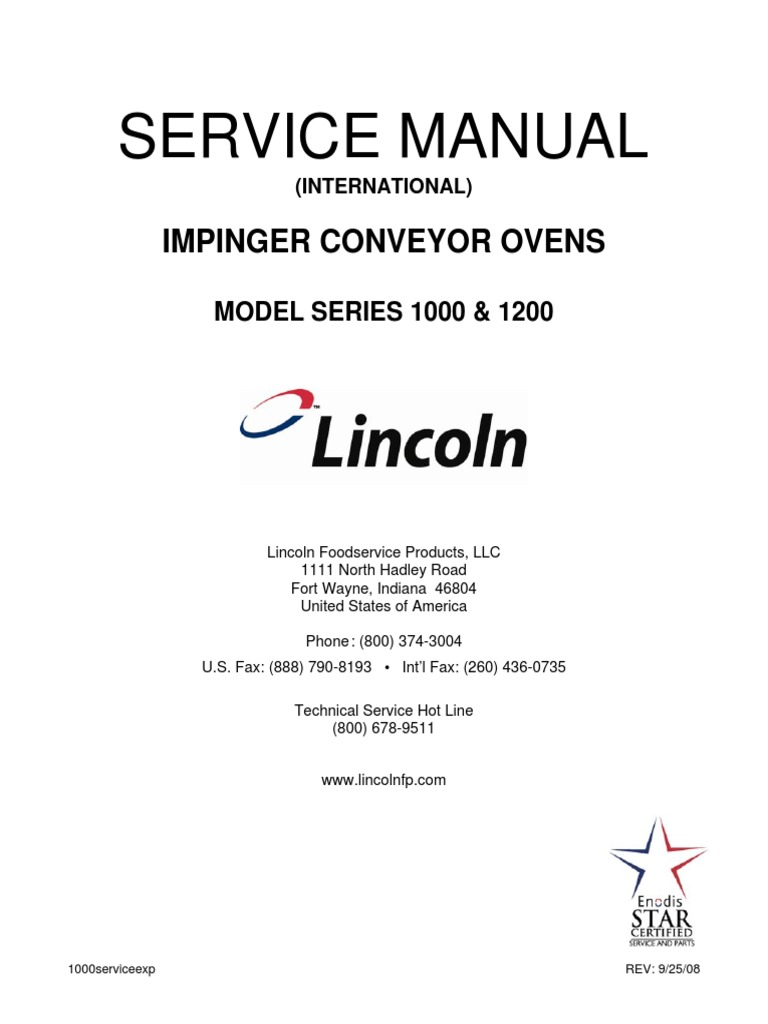 Impinger i - 1000 Series Service Manual - International | Thermostat | Relay